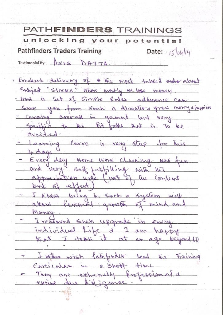 Testimonial By Mr. Asis Datta – Student Pathfinders Traders Training April14 Andheri Batch