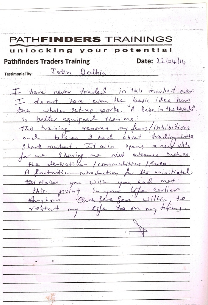Testimonial By Mr. Jatin Dedhia – Student Pathfinders Traders Training April14 Thane Batch