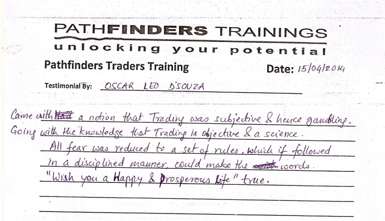 Testimonial By Mr. Oscar Led Dsouza – Student Pathfinders Traders Training April14 Andheri Batch