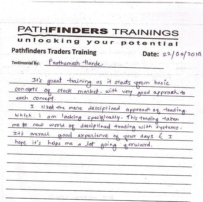 Testimonial By Mr. Prathamesh Hande – Student Pathfinders Traders Training April14 Thane Batch