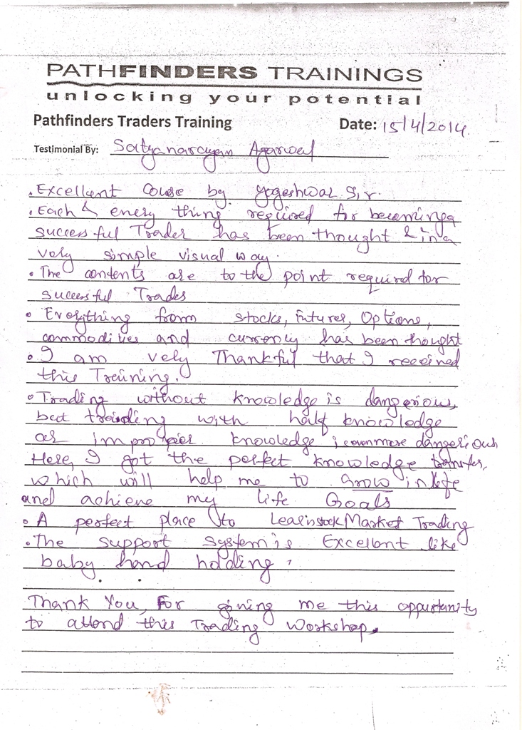 Testimonial By Mr. Satyanarayan Agarwal – Student Pathfinders Traders Training April14 Andheri Batch