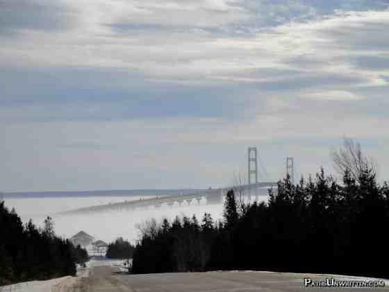 A whiteout snowstorm through the Straits of Mackinac, Michigan.