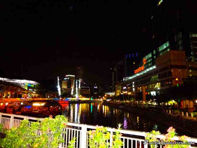 The Singapore River over Clarke Quay.