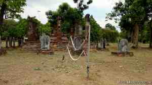 A volleyball net set up at the ruins?