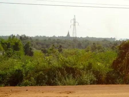 The temple-stupa rising over the horizon.