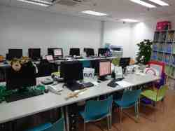 Empty ESL office in Chongqing before a long Saturday.