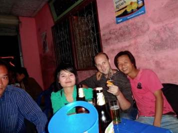 Drinking with Chinese tourists who crossed the border for fun. We couldn't understand each other, but were still a novelty to each other.