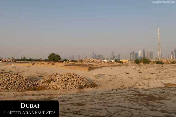 Dubai's massive skyline in the distance from the Jumeirah archaeology site.