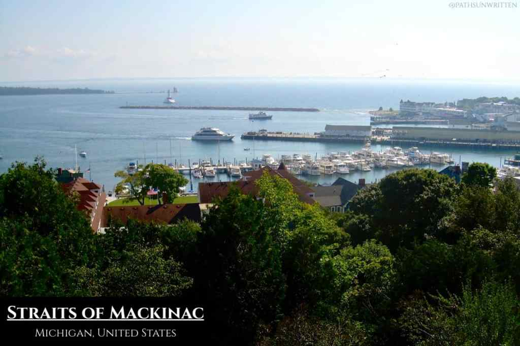 The Straits of Mackinac as seen from Mackinac Island