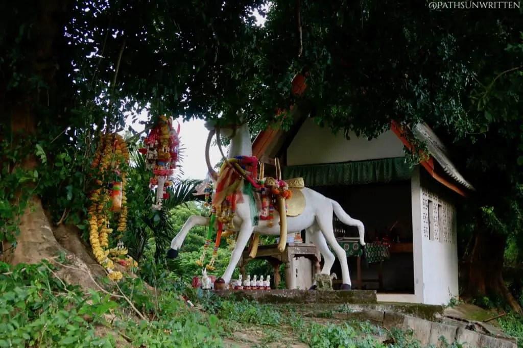 "The horse shrine atop the Lampang city wall's Pratu Ma, or ""Horse Gate""."