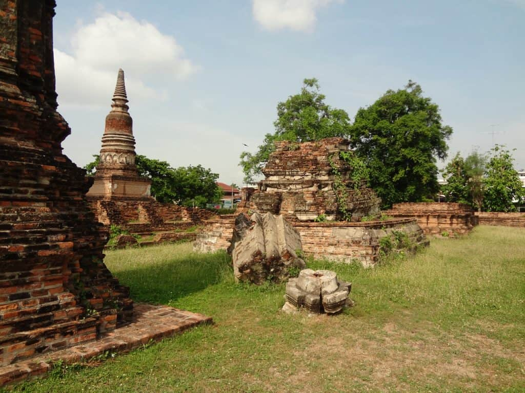Numerous stupa designs dotting the temple grounds.