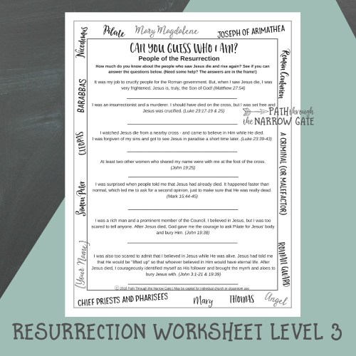 small resolution of Easter Worksheets - Path Through the Narrow Gate