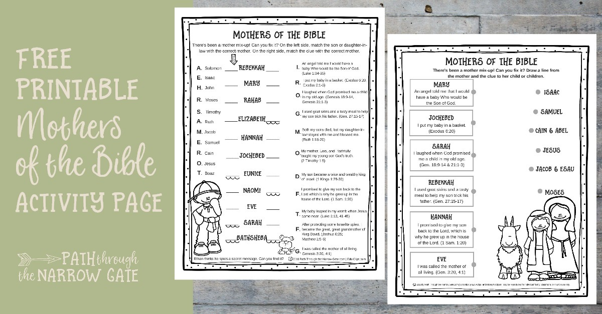 Printable Mothers Of The Bible Worksheet Path Through