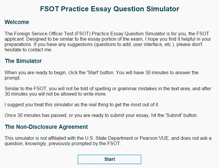 foreign service officer test essay questions Fsot exam review information to help fsot test takers review and prepare for the fsot test free fsot exam help and preparation tips.
