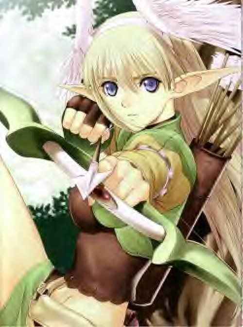 Elf Female Archer Anime Male Blonde Hair