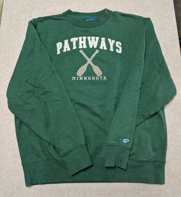 Green sweatshirt with Pathways and oars