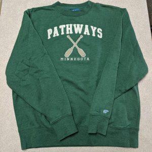 Green sweatshirt with Pathways and oars