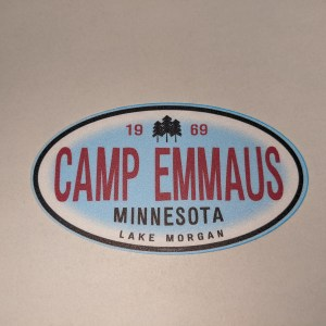 Blue oval Camp Emmaus sticker
