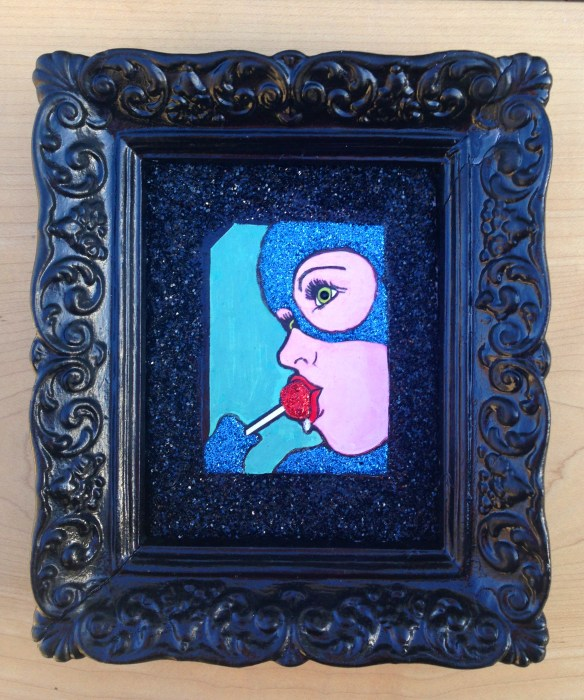 BLOW POP, Cyn Mcgrath Mixed Media, Acrylic paints, glitter, $195