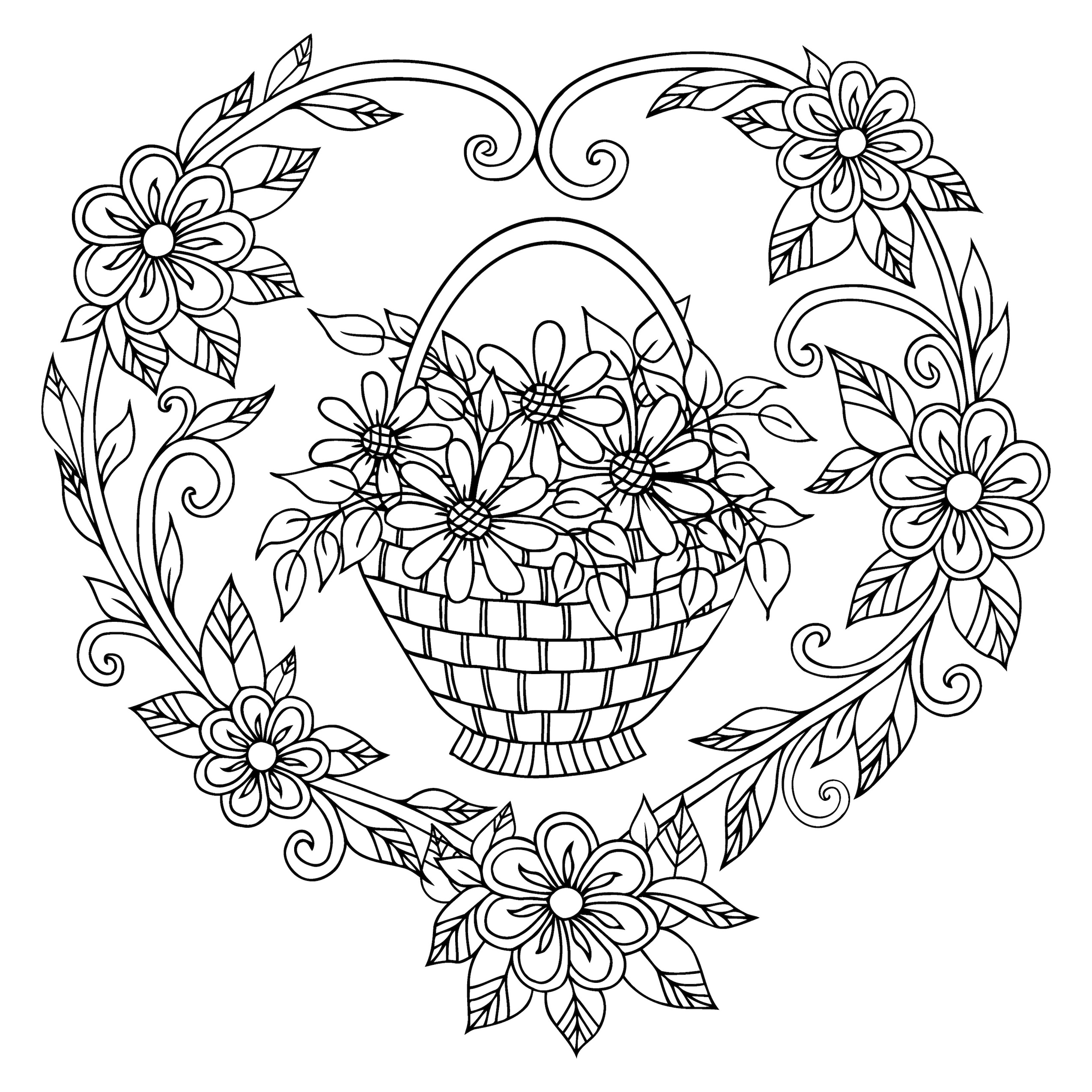 Illustration. Basket with flowers in a frame of hearts