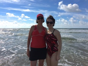My mom and I on the beach, enjoying the morning before the heat got too intense.