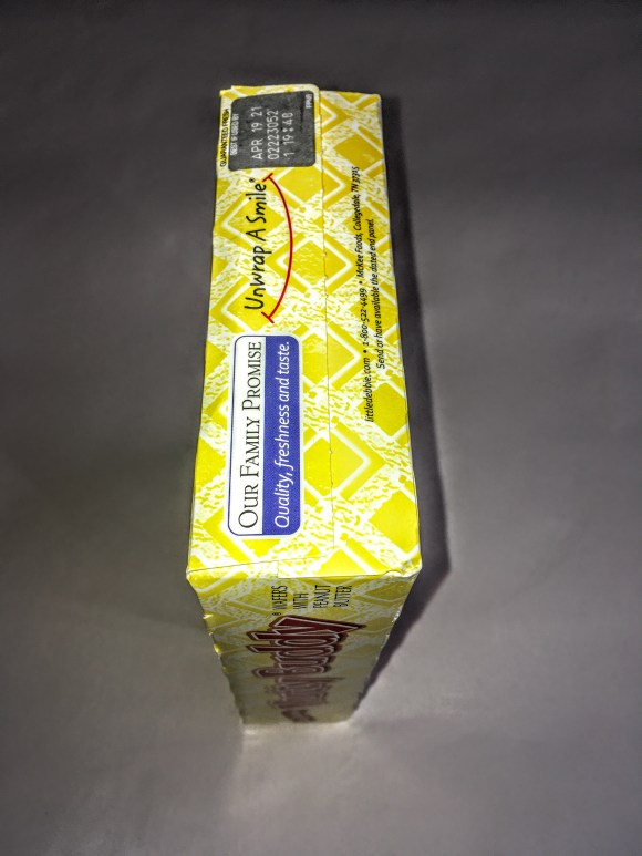Box of Nutty Buddies, side view