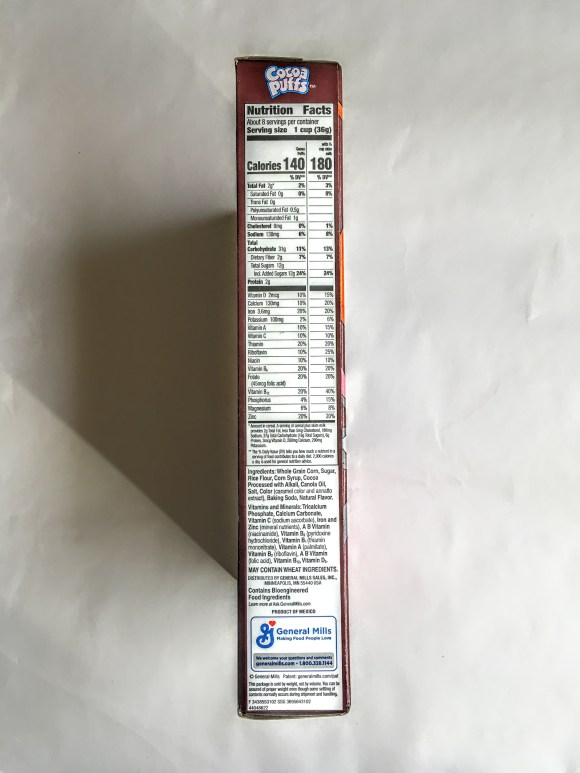 Cocoa Puffs, side view with nutrition label