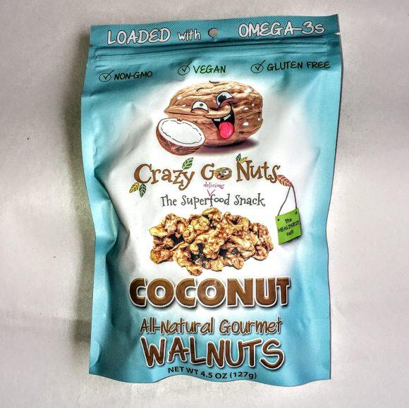 A bag of Crazy Go Nuts walnuts