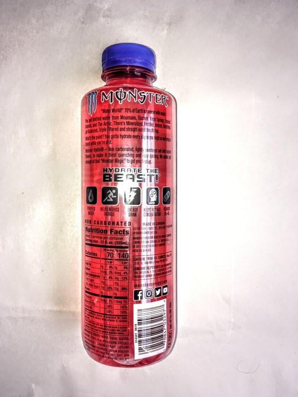 Bottle of Manic Mellon Monster Energy Drink, back