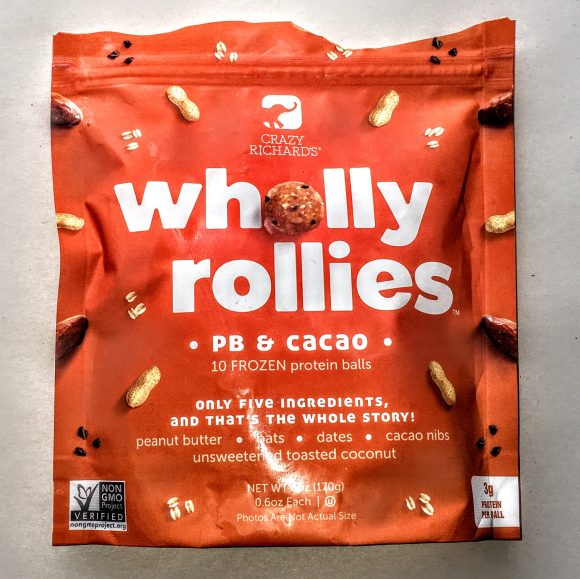 A bag of Crazy Richard's Wholly Rollies.