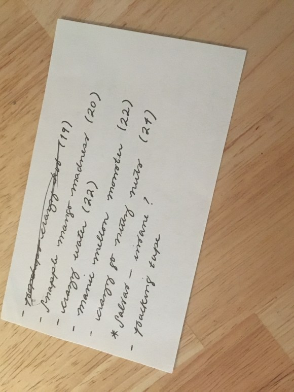 Handwritten shopping list for mad maps project, back view