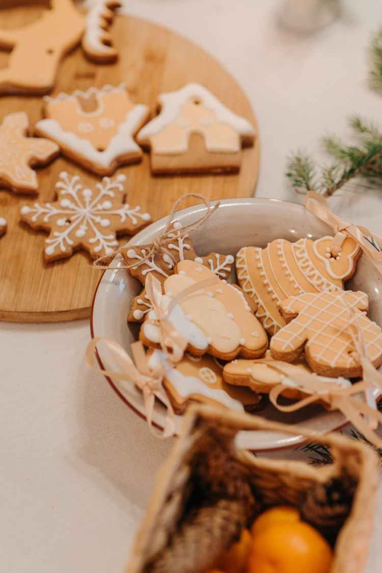 decorative christmas cookies on the table