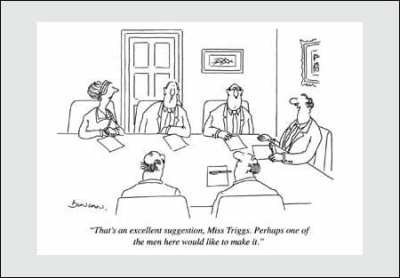 Comic: That's an excellent suggestion, Mrs. Triggs. Perhaps one of the men here would like to make it.