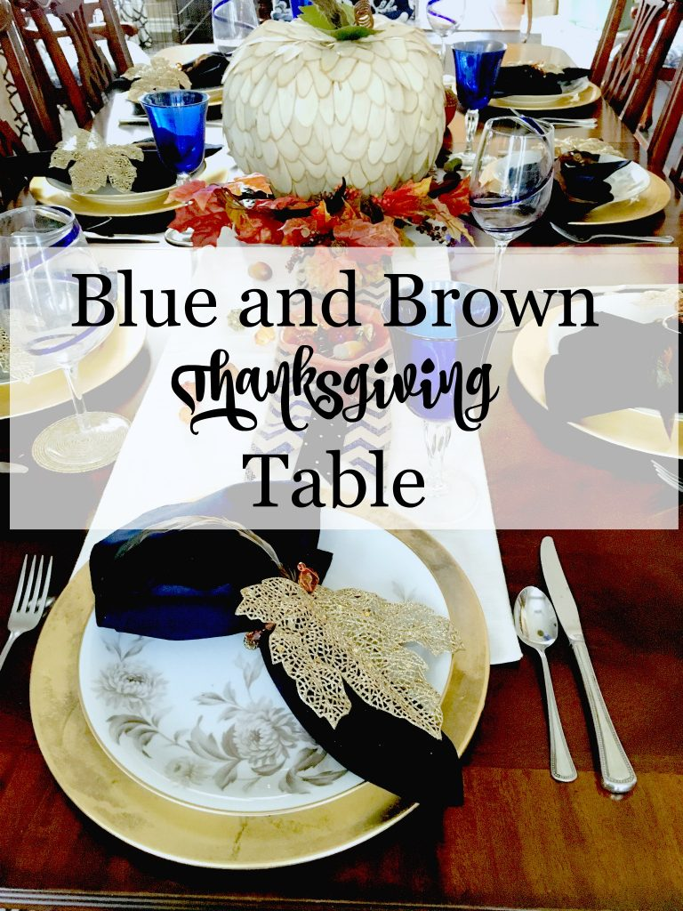 Blue and Brown Thanksgiving Table
