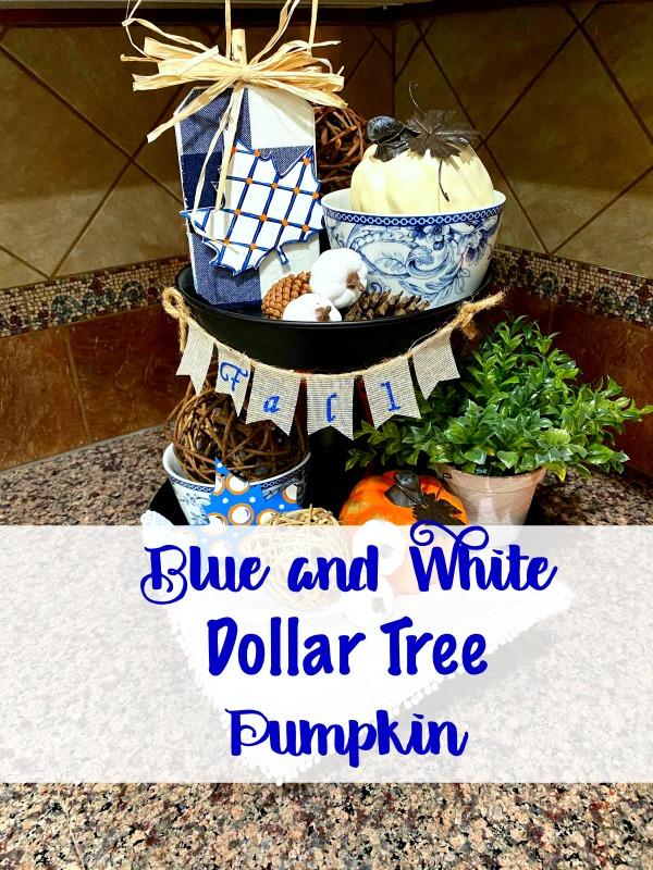 Blue and White Dollar Tree Pumpkin