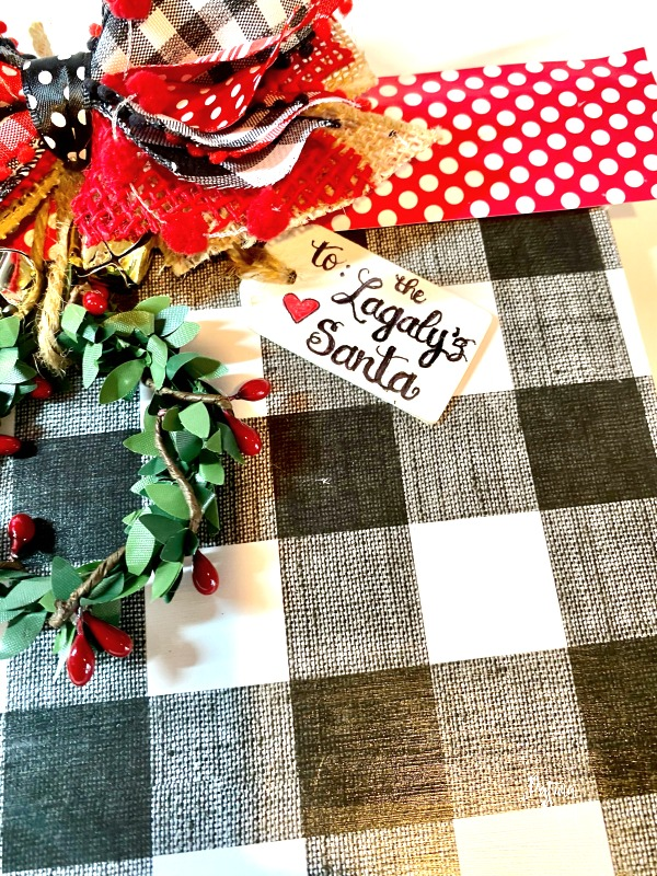 wooden Christmas present tag