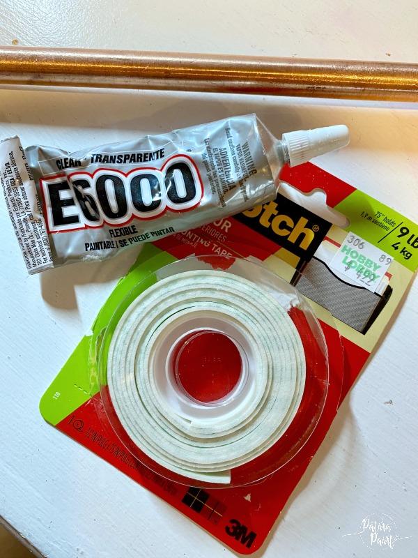 E6000 glue, double sided tape
