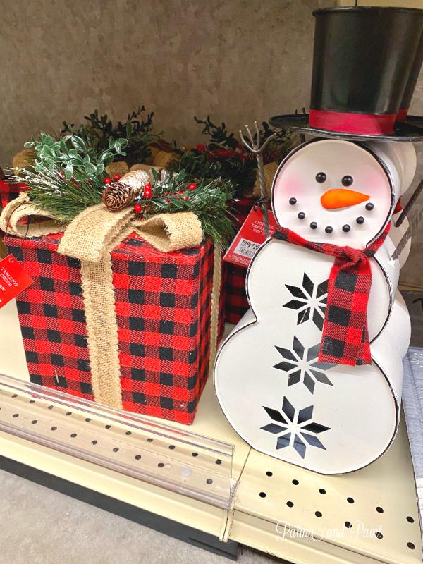snowman and christmas present