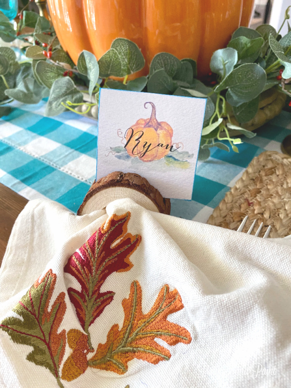 thanksgiving place card, napkin