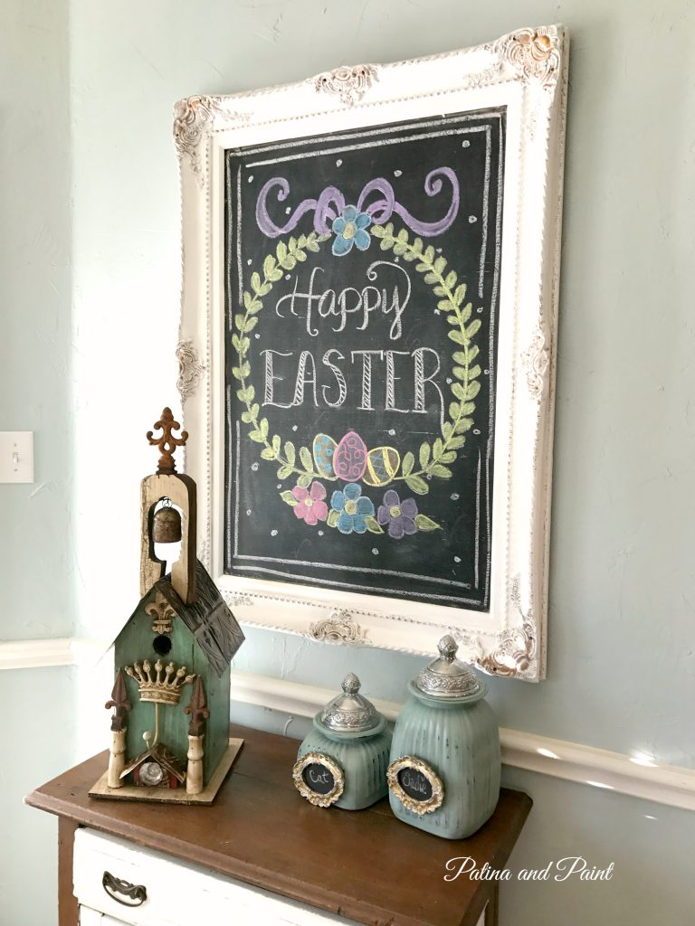 Updating the Chalkboard and Small Cabinet