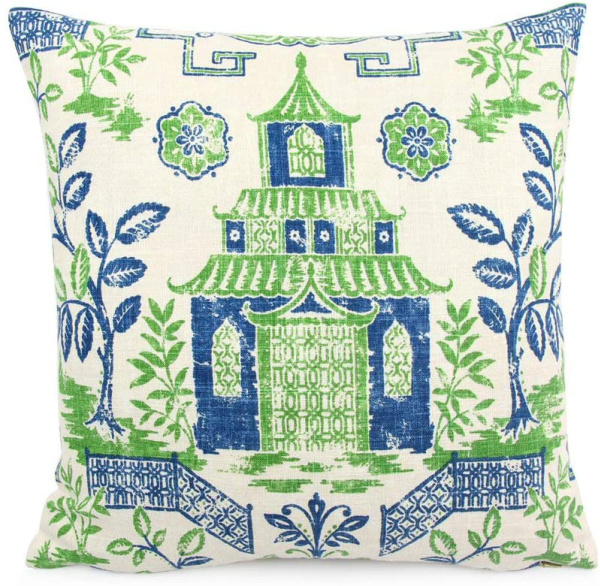 blue and green chinoiserie pillow