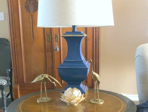blue lamp in the living room