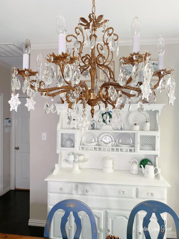 chandelier, snowflakes