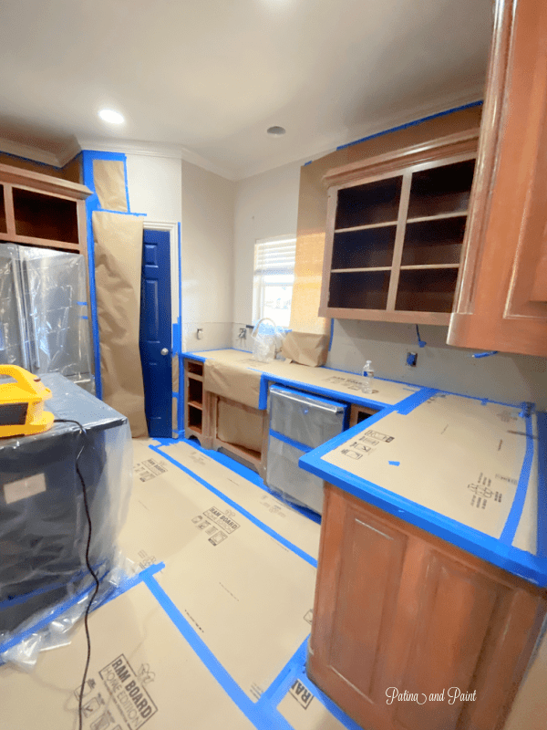 cabinets, tape, paper