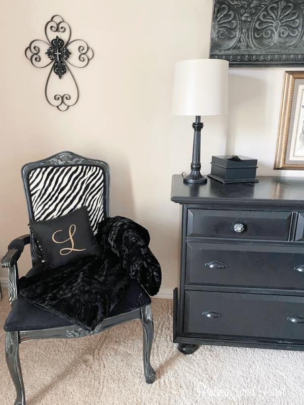 chair, dresser, lamp