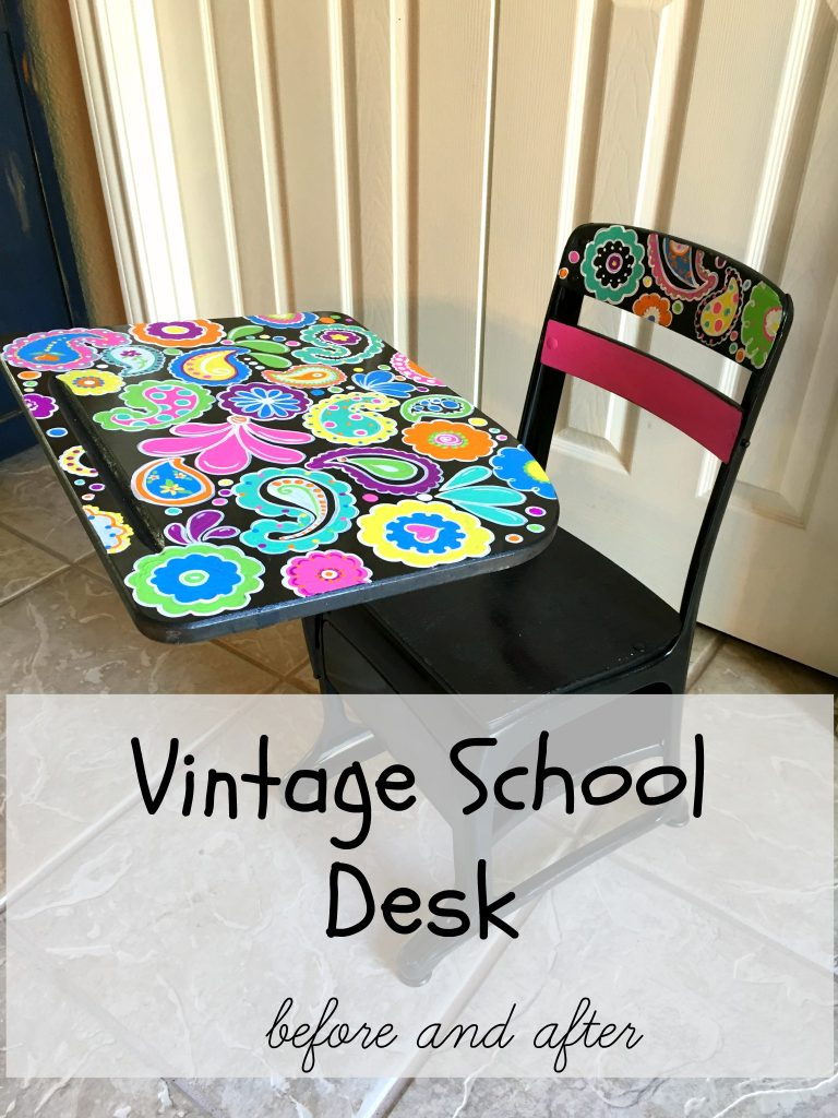 Vintage School Desk before and after