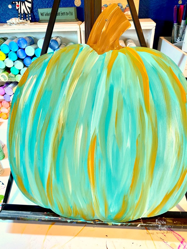 Painted turquoise pumpkin