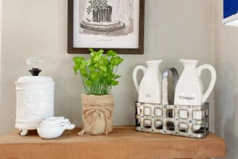 shelf, white dishes, plant