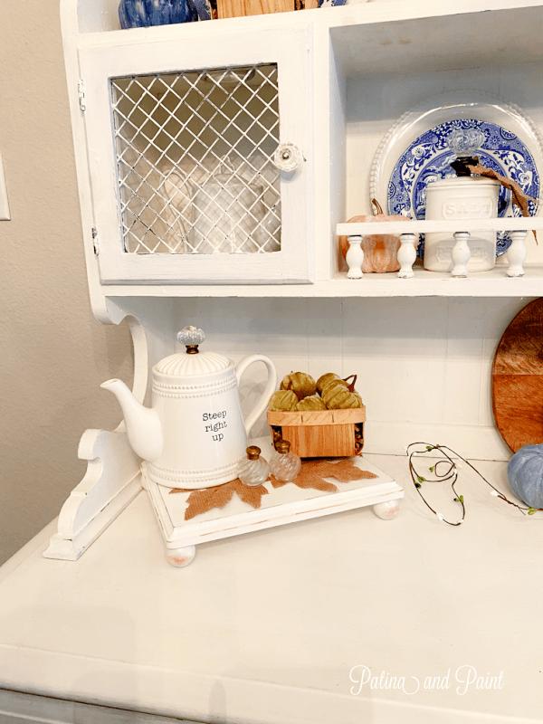 white tea pot and basket