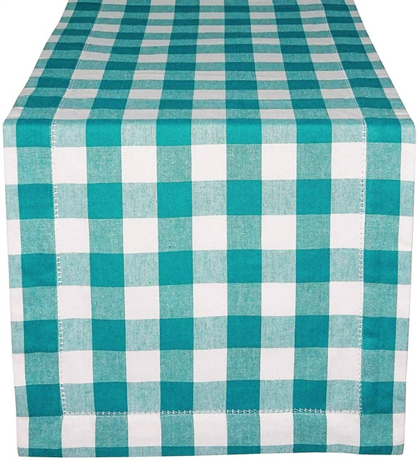 teal table runner